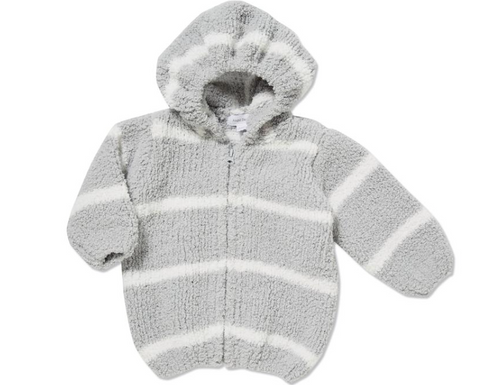 Striped Chenille Hoodie Lt Grey