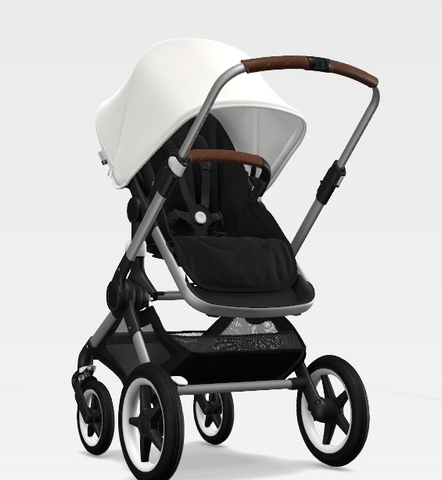 The Fox-black bassinett, stroller seat, white canope and wheels, congnac grips