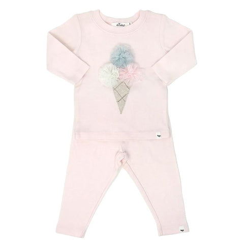 Two Pc Triple Scoop Ice Cream Cotton Set Pale Pink