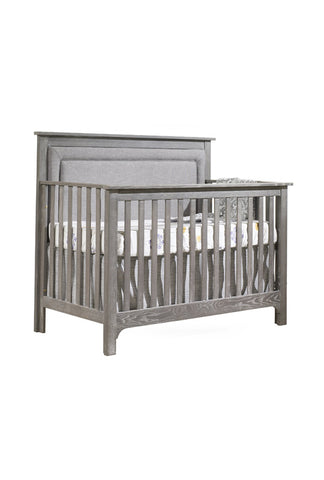 "Emerson ""5-in-1"" Convertible Crib with Linen Weave Upholstered Headboard Panel"