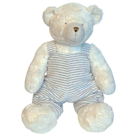 Plush bear with Striped Overall 18""