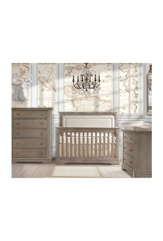 "Ithaca ""5-in-1"" Convertible Crib with Blind-Tufted Linen Weave Upholstered Headboard Panel"