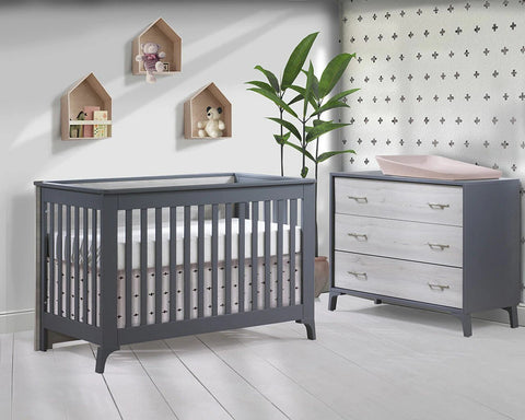 Natart Metro 2 Piece Set - Convertible Crib and 3 Drawer Dresser in Charcoal/Washed Walnut