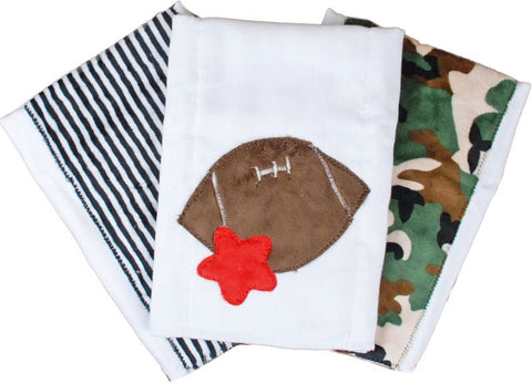 Sport Set of 3 Burp Cloths