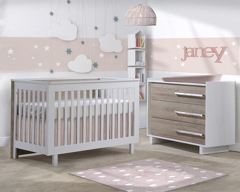 Natart Tulip Urban 2 Piece Set - Convertible Crib and 3 Drawer Dresser in White/Natural