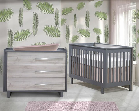Natart Tulip Urban 2 Piece Set - Convertible Crib and 3 Drawer Dresser in Charcoal/Washed Walnut