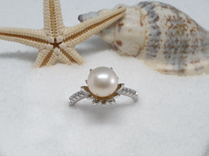 "092 Zilveren ring ""single pearl"""