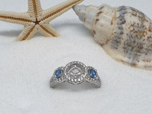 "113 zilveren ring ""beautyfull blue"""