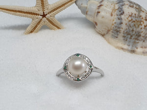 "122 zilveren ring ""little green"""