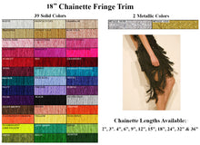 "18"" Long Chainette Fringe Trim in 41 Beautiful Colors"