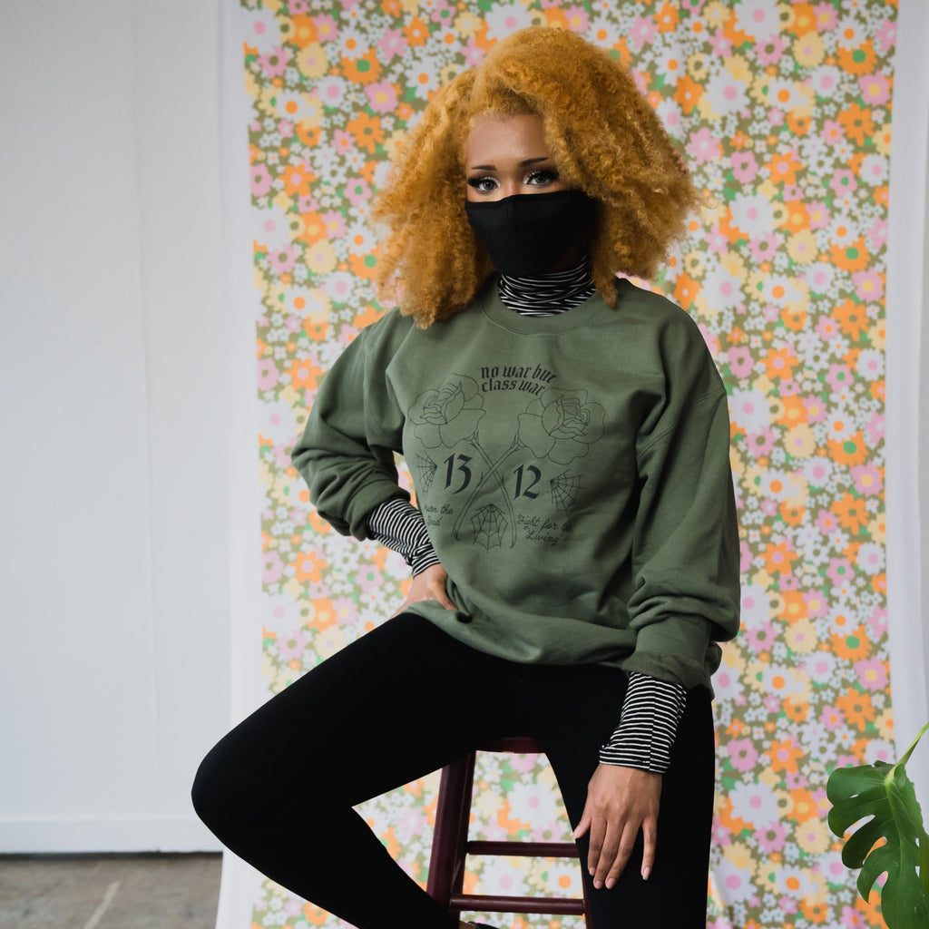 No War But Class War Crewneck in Green