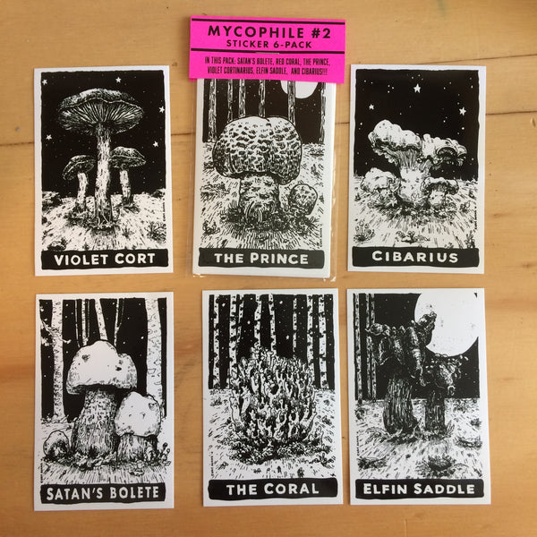 Mycophile No. 2 Mushroom Sticker 6-pack