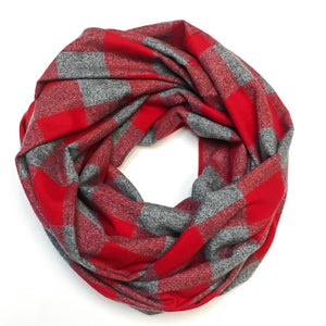Red and Charcoal Plaid Infinity