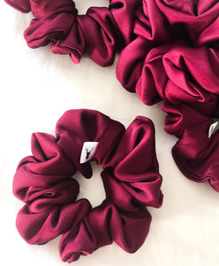 Wine Satin Scrunchie