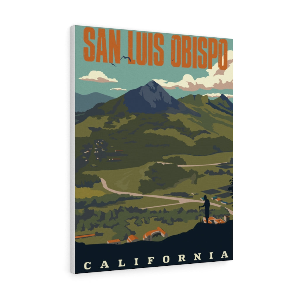 San Luis Obispo California | Vintage-Style Travel Poster | Large Canvas Print (24x30