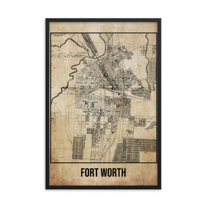 Framed Forth Worth Antique Paper Map