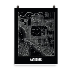 San Diego Antique Paper Map Black