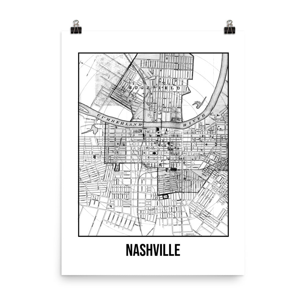 Nashville Antique Paper Map White
