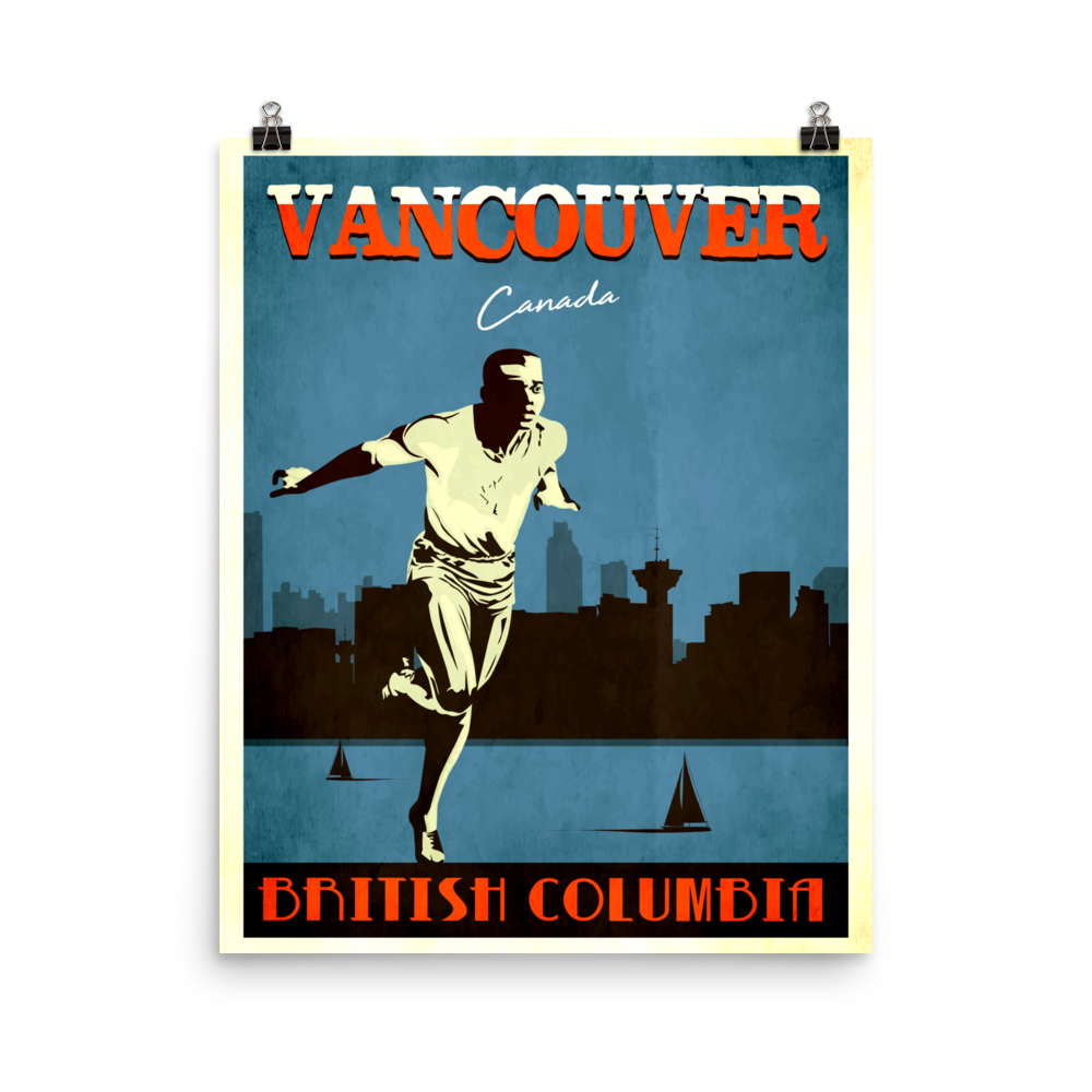 Vancouver Canada | Vintage Travel Poster | Enhanced Matte Paper Print (Blue)