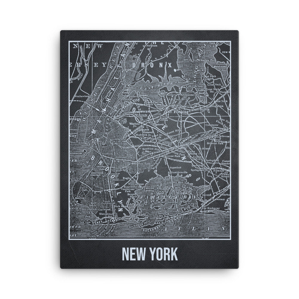 New York Antique Canvas Print Map Gray