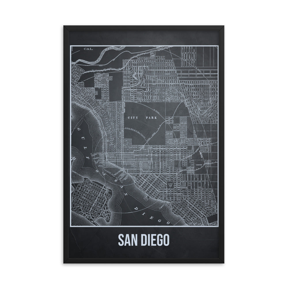 Framed San Diego Antique Paper Map Gray