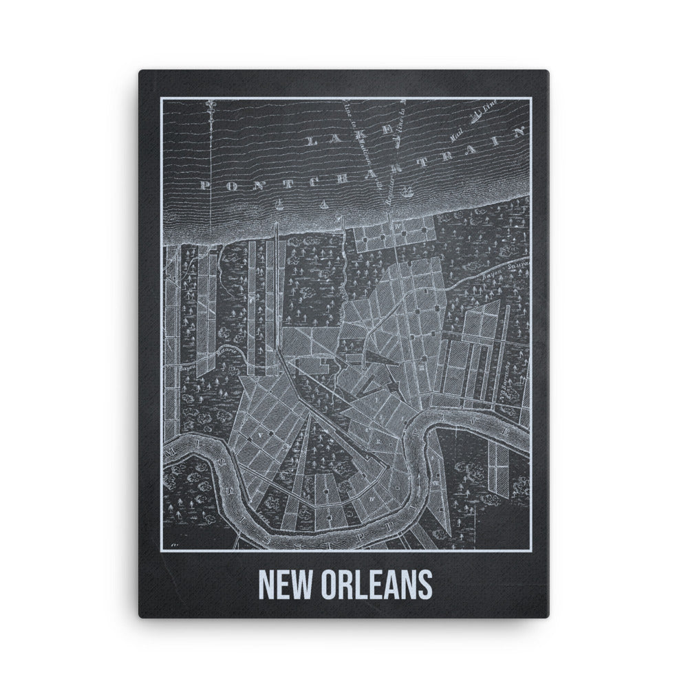 New Orleans Antique Canvas Print Map Gray