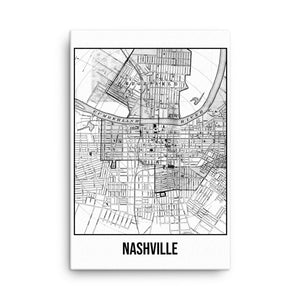 Nashville Antique Canvas Print Map White