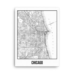 Chicago Antique Canvas Print Map White