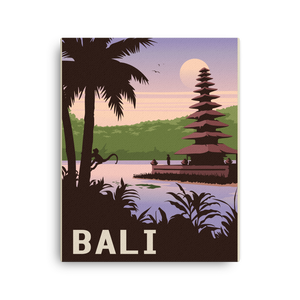 Bali Indonesia | Vintage-Style Travel Poster | Canvas Print (Dawn)