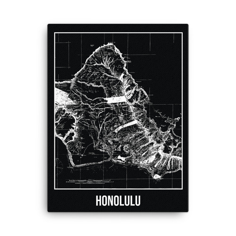 Honolulu Antique Canvas Print Map Black