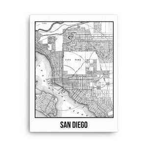 San Diego Antique Canvas Print Map White