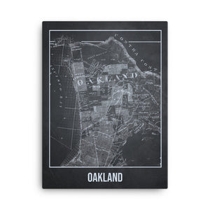 Oakland Antique Canvas Print Map Gray