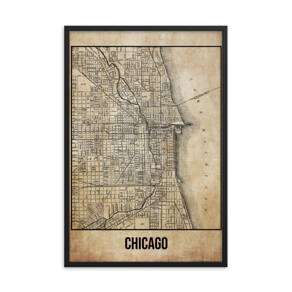 Framed Chicago Antique Paper Map