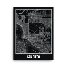 San Diego Antique Canvas Print Map Black