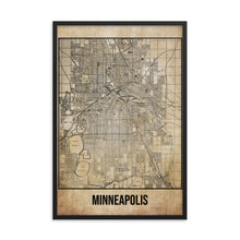 Framed Minneapolis Antique Paper Map