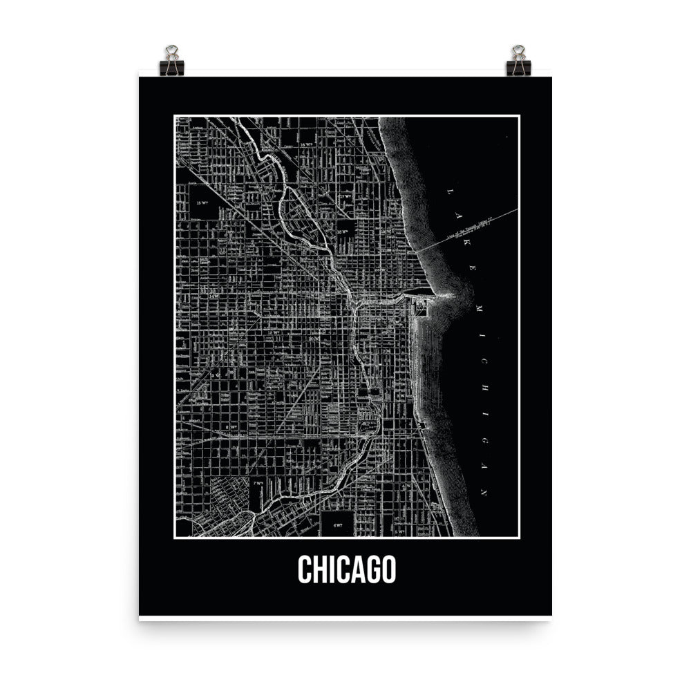 Chicago Antique Paper Map Black