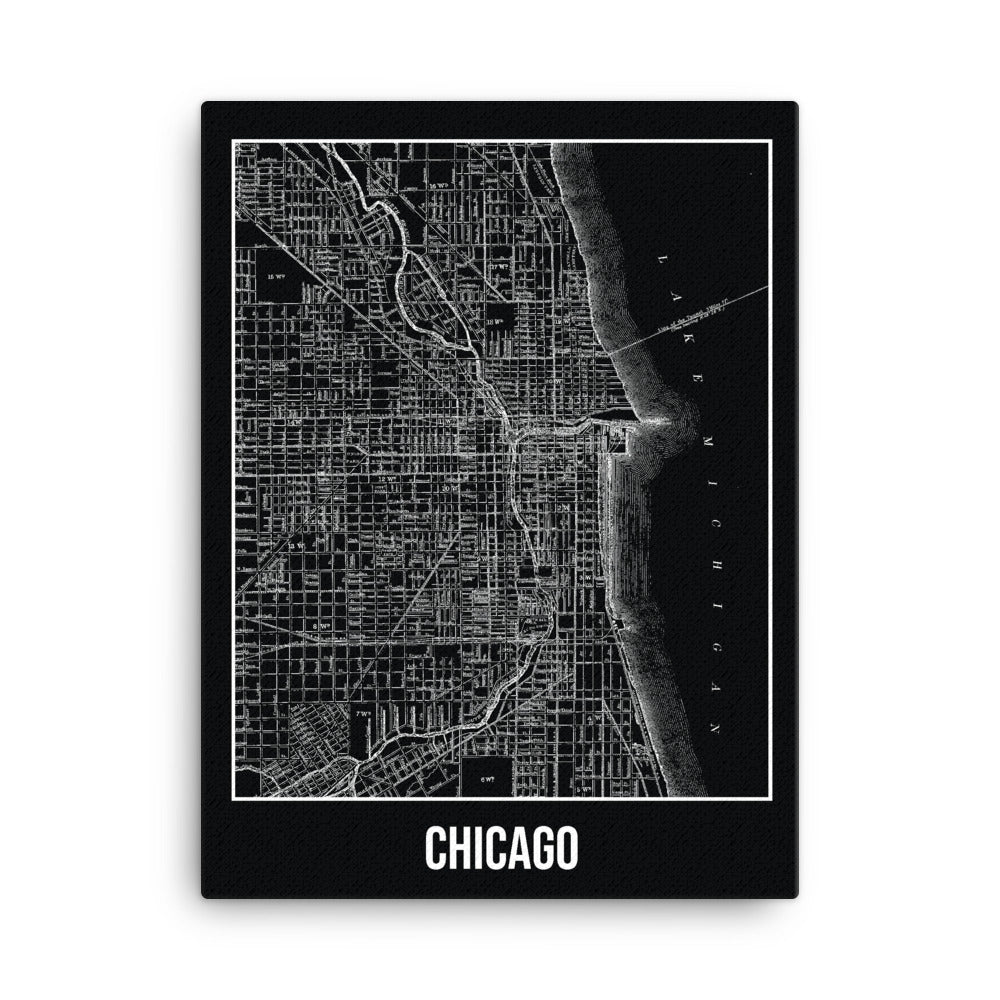 Chicago Antique Canvas Print Map Black