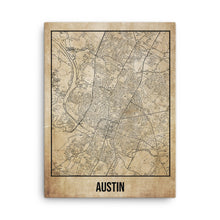 Austin Antique Canvas Print Map