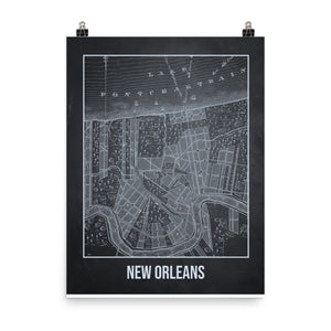 New Orleans Antique Paper Map Gray