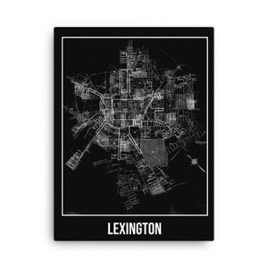 Lexington Antique Canvas Print Map Black