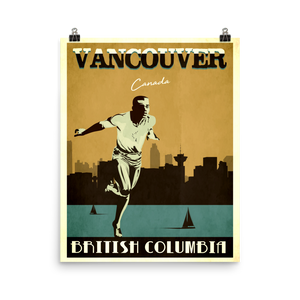 Vancouver Canada | Vintage Travel Poster | Enhanced Matte Paper Print (Gold)