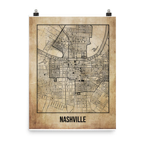 Nashville Antique Paper Map