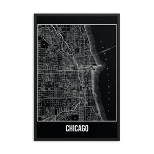 Framed Chicago Antique Paper Map Black