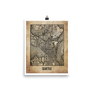 Seattle Antique Paper Map