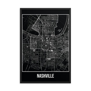 Framed Nashville Antique Paper Map Black