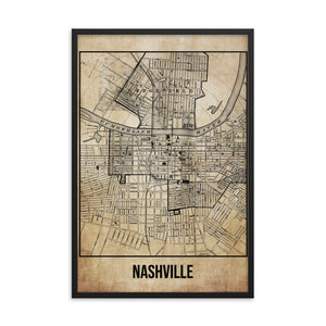 Framed Nashville Antique Paper Map