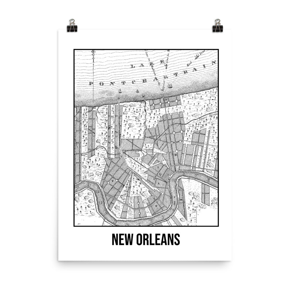 New Orleans Antique Paper Map White