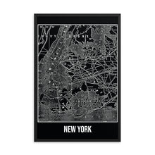 Framed New York Antique Paper Map Black