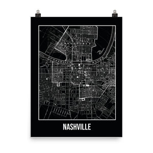 Nashville Antique Paper Map Black