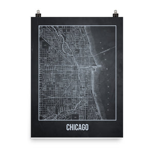 Chicago Antique Paper Map Gray